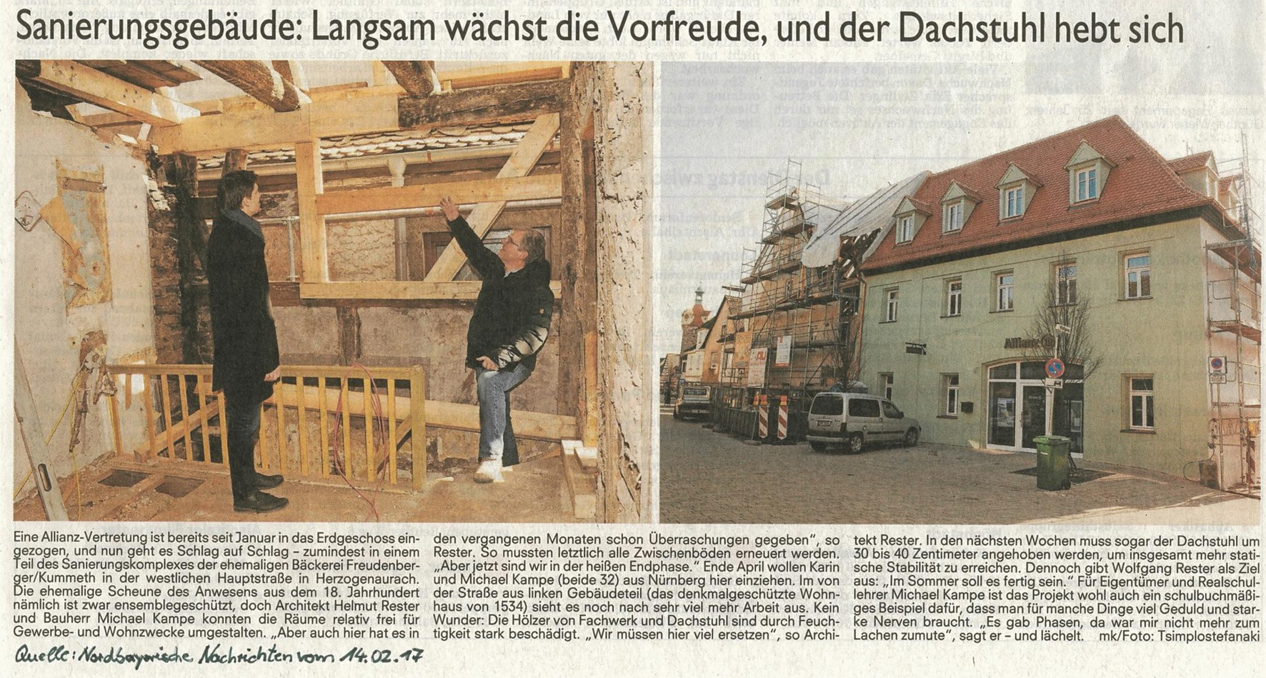 Zeitungsartikel Sanierungsgebäude Langsam wächst die Vorfreude, und der Dachstuhl hebt sich